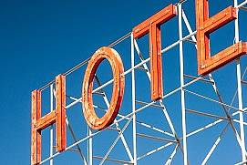 Neon letters 'Hotel'